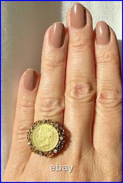 Antique 1868 22K Coin 14K Yellow Gold Diamond Ring Philippino Spain Isabella