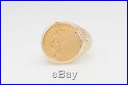 Antique 1913 $2.50 US 22k INDIAN Genuine GOLD COIN 14k Mens Ring Band 17g