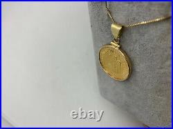 Antique 1917 Diez Pesos 10 Mexican gold coin bezel 14k yellow pendant eagle 10g