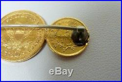 Antique 2 Gold US $1 and 1 Gold US $2.5 Coins Pin / Brooch I-9151