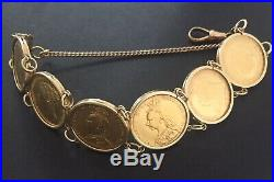 Antique 6 Full Sovereign 22k Gold Coins And 9K gold Bracelet