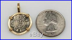 Antique Ancient $1500 GENUINE Shipwreck Coin Silver 14k Yellow Gold Pendant