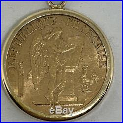 Antique France 1893A 20 Francs gold coin pendant lucky angel rooster 14k yellow