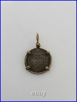 Antique Genuine Spanish Reale COIN 14k Yellow Gold Pendant BIG
