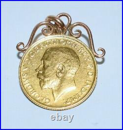 Antique Geo V 1911 GOLD FULL SOVEREIGN Coin Fancy Scroll Mount Pendant UNC