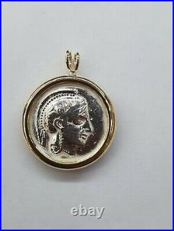 Antique Greek athens 440-404 BC silver tetra silver Coin With Gold Bezel Pendant