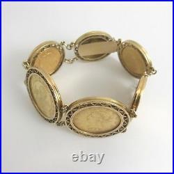 Antique Vintage Colombia Coin Pesos Bracelet in 22K 14K Yellow Gold, 115.32 Gram