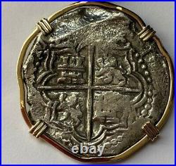Atocha Coin Genuine 8 Reale Grade 1 Custom 14K Yellow Gold Frame COA