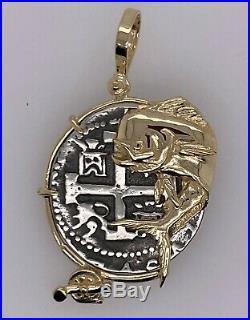 Atocha Coin Mahi Mahi Fish Charm Pendant Rod Reel 14K Gold Sport Jewelry