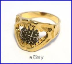 Atocha Coin Ring Shark Jaws Mens Ladies 14k Gold Sunken Treasure Jewelry