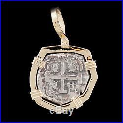 Atocha Sunken Treasure Jewelry Odd Shape Silver Coin Pendant with14K Gold Frame