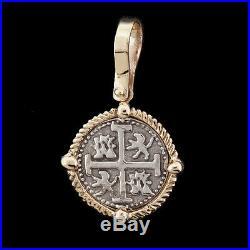 Atocha Sunken Treasure Jewelry Small Silver Coin Pendant with14K Gold Frame