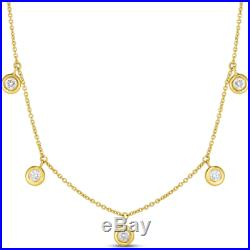 Authentic 18kt YELLOW Gold Dangling Diamond 0.23 Station Necklace-Roberto Coin
