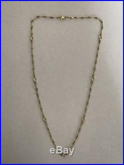 Authentic Dog-Bone 7 Station diamond18 Yellow gold, Necklace-Roberto Coin