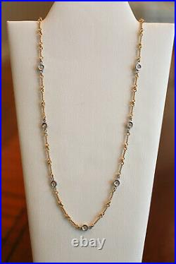 Authentic Roberto Coin 18K Yellow Gold 7 Station Diamond Dog Bone Necklace