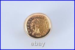 BEAUTIFUL 1914 Indian Head 2-1/2 Dollar Gold Coin Quarter Eagle 14K Ring