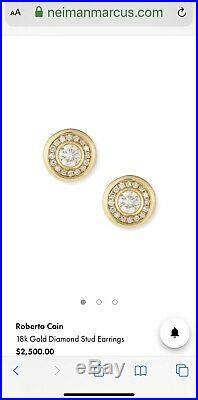BRAND NEW Roberto Coin 18kt Gold Diamond Halo Bezel Stud Earrings