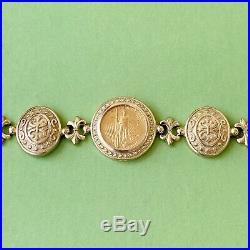 Beautiful 14k 22k Yellow Gold American Eagle Coin Bezel Bracelet