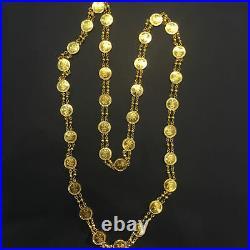 Beautiful Dubai Handmade Coin Chain Necklace In Fine Certified 18K Yellow Gold