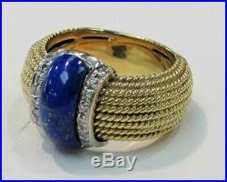Beautiful Roberto Coin 18k Gold Diamonds & Gold Flake Lapis Lazuli Ring 7 1/2