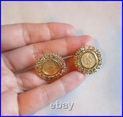 Bullion 1945 Mexico Dos Pesos coin earrings 14k gold woven frame Omega back