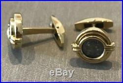 Bvlgari 18kt Yellow Gold Cufflinks Greek Coin 300 Bc Pisidia Selge Hemi Drachm
