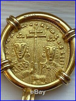 Byzantine Constantine VII Ancient Coin Jesus set in 10K Yellow Gold Frame Pendan