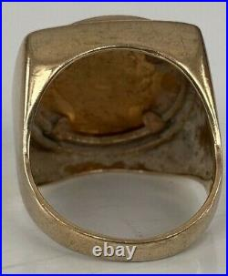 CHNKY HEAVY 11.5 GRAM 22ct Gold 1908 George HALF Sovereign Coin in 9ct Gold Ring