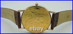 CORUM 18K Gold 20 Dollar Coin Watch Year 1882 Quartz