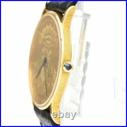 CORUM Coin Watch $20 18K Gold Leather Hand-Winding Mens Watch BF519310
