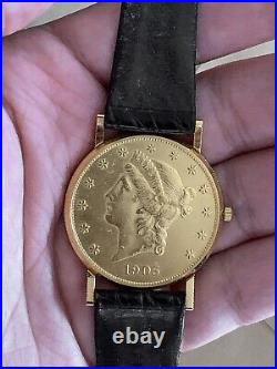 Corum 20 Dollars Double Eagle Yellow Gold Coin Year 1905 Mens Watch