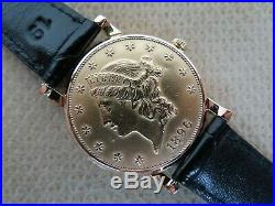 Corum Heritage $20 Double Eagle Automatic Coin Watch 18K & 22K Solid Yellow Gold