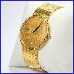 Corum Heritage Coin 1877 $20 Gold Liberty Quartz 18 kt Bracelet Watch #A3892