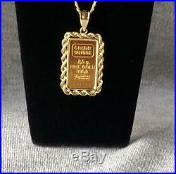Credit Suisse 2.5 gram. 999 Fine Gold Ingot 14k yellow gold rope Bezel Pendant