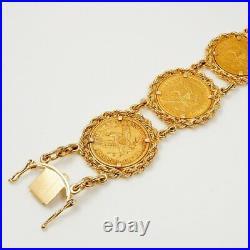 Custom Made Antique $5 Liberty Gold Coin 14Kt Yellow Gold Bracelet 74.7gr