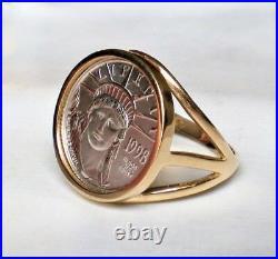 Designer 1/10 oz Platinum American Eagle Liberty Coin 14K Yellow Gold RING