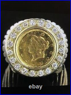 Diamond Ring With 1854 Liberty Head Coin 14kt Gold 13g