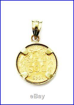 Dos Pesos Mexican 2 Pesos Gold Coin Necklace Charm Pendant Eagle In Front