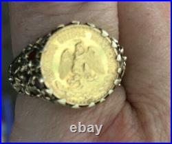 Dos Pesos coin Ring 9ct Yellow Gold Ring- 5.3g size Size Q