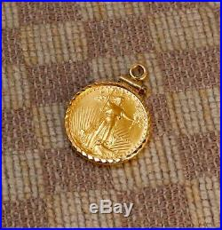 ESTATE 1/10oz FINE GOLD $5 1989 LIBERTY US COIN SET IN 14K GOLD BEZEL