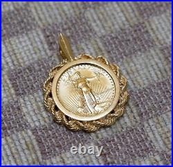 ESTATE 1/10oz GOLD $5 1987 LIBERTY US COIN SET IN 14K GOLD ROPE PENDANT