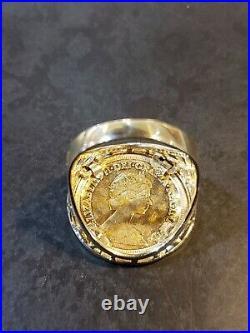 ESTATE 9K MEN'S RING 1982 Elizabeth II British Gold Half Sovereign GOLD 22K COIN