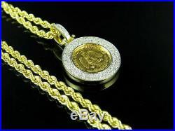 Estados Unidos Mexicanos Coin Pendant Charm 10k Yellow Gold Over 1.5Inch