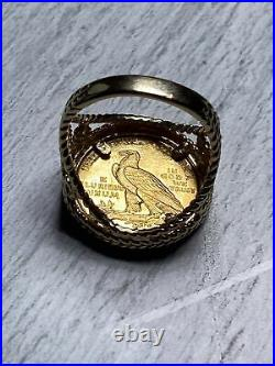 Estate 14K Yellow Gold Ring Holding A 1909 $2.5 Indian US Coin Art Deco Handmade