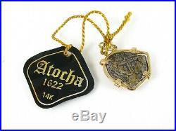Estate 14k Yellow Gold Atocha Silver Shipwreck Silver Coin Pendant 3.5g eb6409