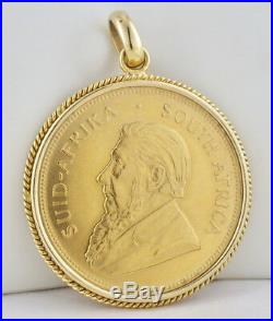 Estate 1979 1 OZ Gold S. African Krugerrand Coin 18K Yellow Gold Pendant 38.9 GR