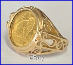Estate 1/25oz Isle of Mann Cat Crown 999 Gold Coin Ring 14K Gold Size 5