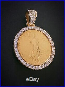 Estate 1/2 Oz. American Eagle $25 Gold Coin Diamond Pendant 2.5 Carat