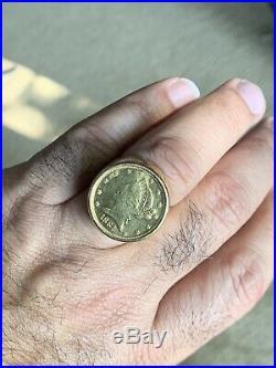 Estate Men's 22k 1881 Liberty Coin In 18k Yellow Gold Design Setting Heavy 20.5g