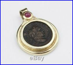 Etruscan 14k Yellow Gold Ruby Cabochon Antoninus Pius Coin Pendant 1.3 PG1006